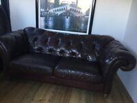 Natuzzi Dark Brown Leather Chesterfield Sofa