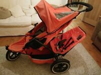 Phil & Teds Double Pram , good condition, with doubles kit & rain cover, from smoke/ pet free home