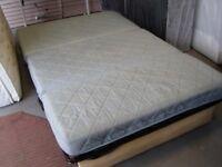 Folding Metal Framed Sofa Bed Futon Sleeper. Beige