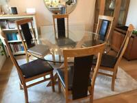Stunning Glass & Oak Round Dining Table & 6 Oak & Leather Chairs
