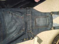 FAT FACE DENIM DUNGAREES AGE 10-11 NEW!