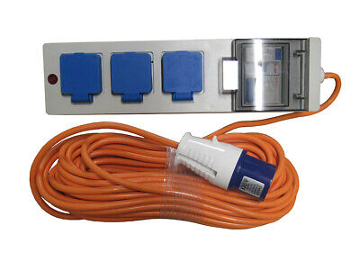 20 Metre Mobile Mains Hook Up Cable With 3 UK Plug Sockets (Caravan Camping)