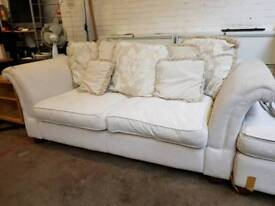 DFS large cream fabric two seater sofa with pull out sofa bed