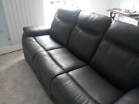 As New Grey Leather 3 Seater Sofa