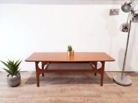 Vintage Mid Century Medium Teak Danish Style Design Retro Coffee Table With Storage Rack