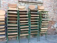 TO RENT Bundle of 40 Vintage Stacking School Chairs Wooden Seats Metal Frame