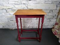 Antique Solid Oak Side Table / Occasional Table - Annie Sloan Shabby Chic