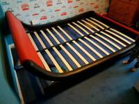 King size Italian red and black leather bed