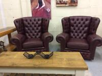 Chesterfield Button Leather Wingback Armchair DELIVERY AVAILABLE FURNITURE CENTRE