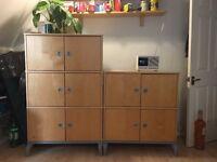 Solid wood kitchen/office storage cupboards - great storage bargain price!