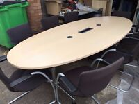 OFFICE FURNITURE 2.6 METER QUALITY MAPLE BOARDROOM TABLE
