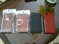 4 NEW MOBILE PHONE CASES LEATHER BLACK BROWN VARIOUS SIZES NEW