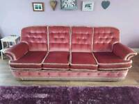 4 seater sofa and two matching chairs