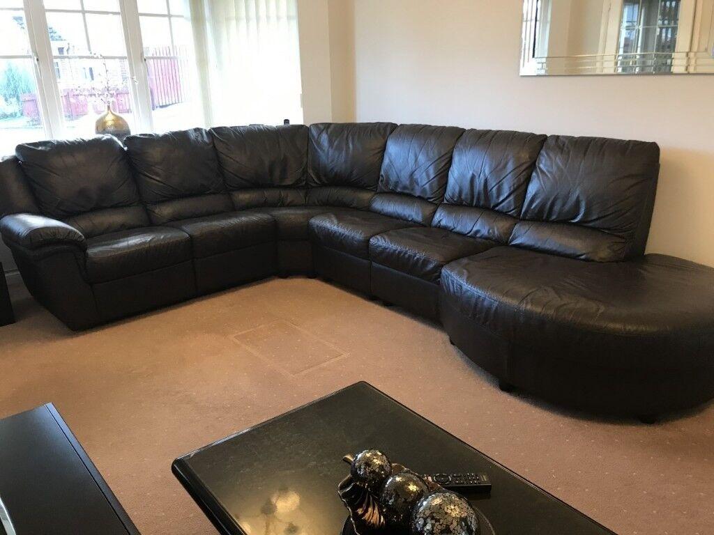 Top Of The Range Scs Brown Leather Corner Sofa Suite In