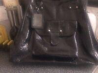 lovely large black patent doctors bag
