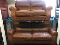 ScS New/Ex Display Tan Leather 3 Seater Sofa + 2 Seater Sofa