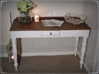 Shabby chic solid pine console table/desk
