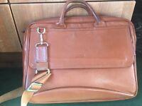 Brown leather manbag / laptop bag