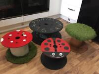 Upcycled cable drums in various designs