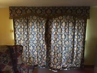 Lounge curtains and pelmets