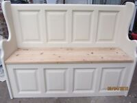 (SOLD SOLD)Country Farmhouse Shabby chic Solid Pine Monks bench Settle Storage Annie sloan old ochre
