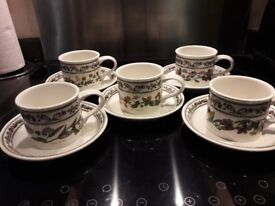 5 Portmerion breakfast cups and saucers