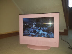 flat screen portable tv with dvd player. pink