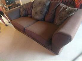 Brown DFS 3 seater sofa