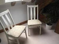 2x dining chairs white chalk paint shabby chic