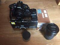 Nikon D3200 Digital Camera 18-55mm. Tamron 70-300mm & extras