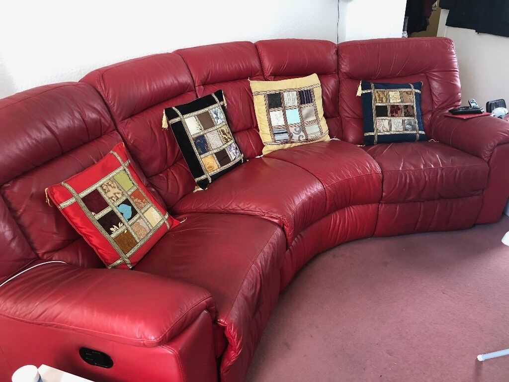 Red Leather Curved 4 Seater Sofa In Northampton Northamptonshire Gumtree