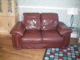 Two Brown Leather 2 Seater Sofas. In Very Good Condition. Buyer Collects
