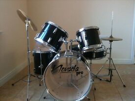 Nevada Pro 5-piece Black Drum Kit with cymbals and stool