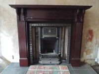 Beautiful Mahogany/cast iron fireplace with gas fire and tiles