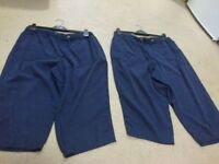 2 ladies navy blue tie cord waist cropped trousers size 16