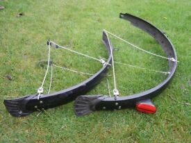 """Mountain 26"""" Mudguard set for front and rear 26"""" wheels with mud flaps and all stainless fittings"""