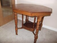ANTIQUE VICTORIAN OCTAGON OCCASIONAL TABLE ON CASTORS