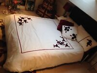 Black leather double bed w/ matress