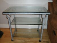 Wrought iron and glass living room furniture - mirror, TV stand, nest of tables