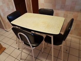 Retro 1950's Formica Table and 4 Chairs