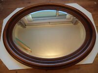 Quality Bevelled Oval Mirror in Sturdy Rosewood Frame