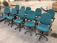 10 - OPERATOR CHAIRS IN GREEN WITH ADJ ARMS - GOOD COND