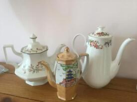 Vintage collectable tea pots / coffee x3 nice condition see phots great for vintage wedding