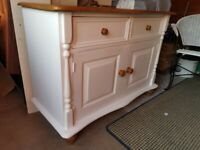 Vintage Shabby Chic Solid Pine Sideboard Cupboard Cabinet with Carved Details