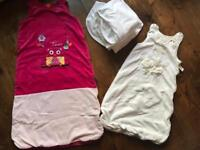 Baby sleeping bags and cot sheets in excellent condition