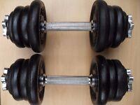 Pair 12.5kg York Cast Iron Dumbbells = 25kg
