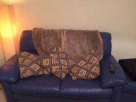 Electric Blue leather sofa