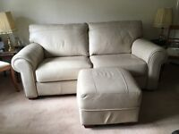 Immaculate Leather 3 piece suite. Sofa, chair and footstool