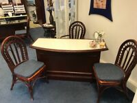 2 x Smart Wooden Glass Shop Counters/Desks with 6 x Wicker chairs