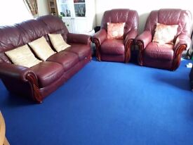 Good condition leather sofa for £200. Three seater and 2 single seaters.